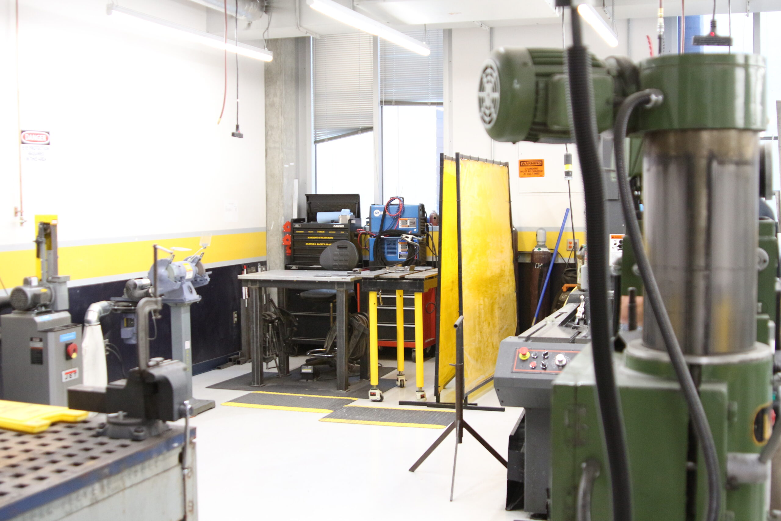 Wide Angle shot of the welding area in the Montgomery Machining Mall